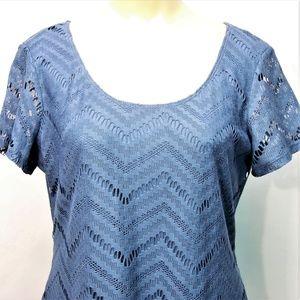 Fitted Chevron Lace Denim Blue Dress